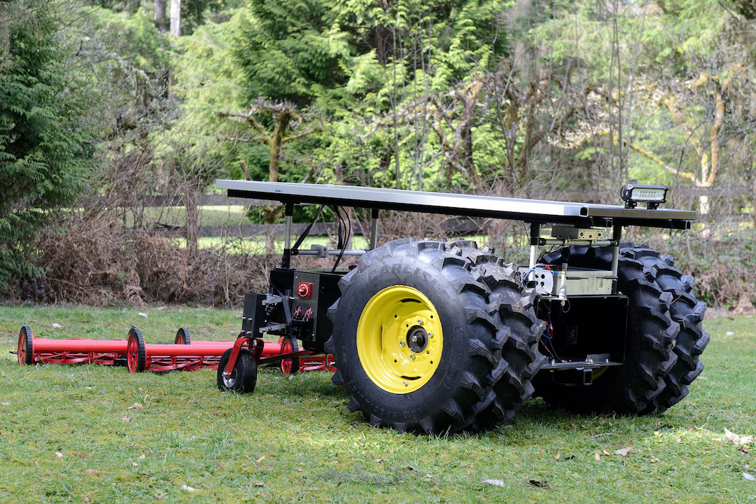 LCR Autonomous Solar Electric Tractor with Rotary Mower